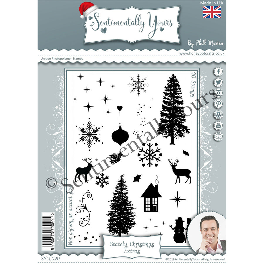 Phill Martin - Sentimentally Yours - Stately Christmas Extras A5 Stamp Set