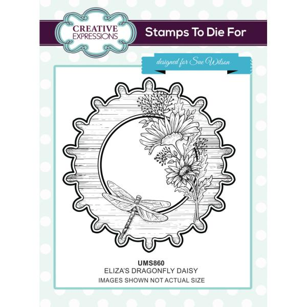Sue Wilson Stamp - Elizas Dragonfly Daisy - UMS860