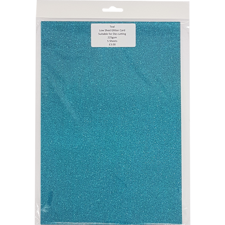Low Shed Glitter Card (5 Sheets) - Teal