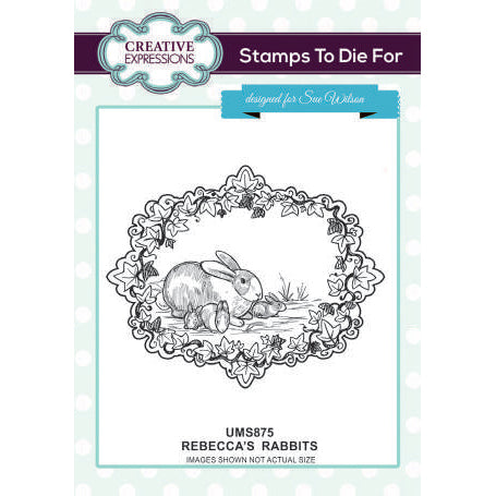 Sue Wilson Stamps To Die For - Rebecca's Rabbits Pre Cut Stamp  - UMS875