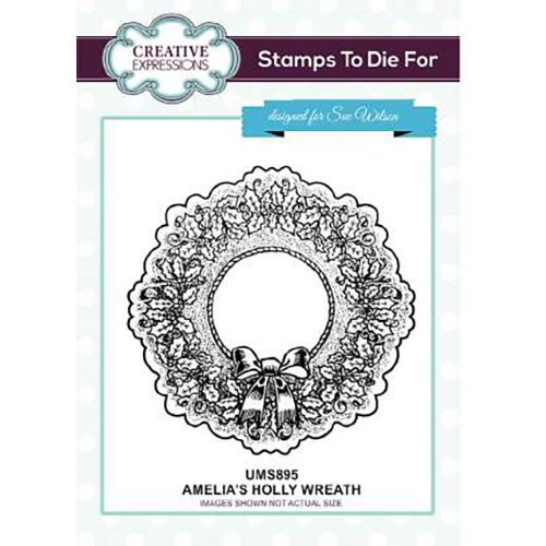 Sue Wilson Stamps To Die For - Amelia's Holly Wreath Pre Cut Stamp - UMS895
