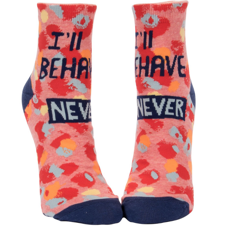 Socks (Women's Ankle) - I'll Behave... NEVER. by Blue Q