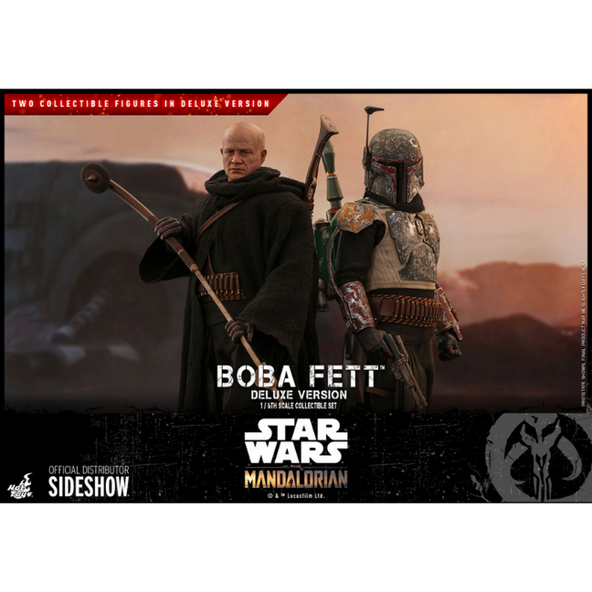 Figure - Star Wars The Mandalorian: Posable Boba Fett Deluxe Version 2-Figure Set Sixth Scale by Hot Toys [PRE-ORDER]