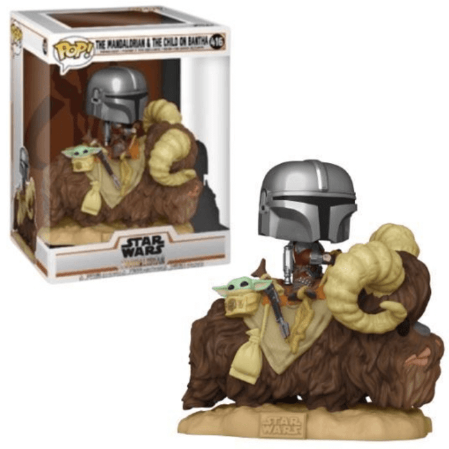 Funko POP! Rides - Star Wars The Mandalorian: Mando with The Child on Bantha #416