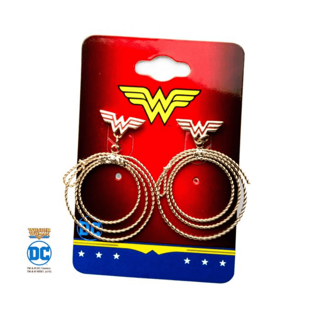 Earrings - DC Comics: Wonder Woman Gold and Red Lasso Dangles