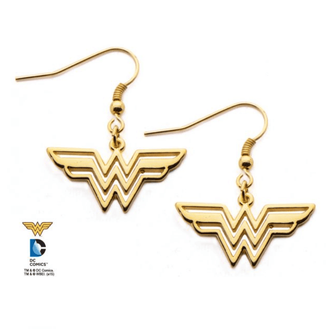 Earrings - DC Comics: Wonder Woman Gold-Plated Logo Dangles