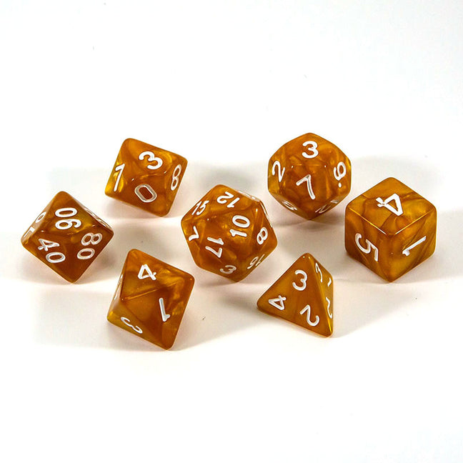 Dice - (28) 7-Piece Polyhedral Set: Golden Dragon