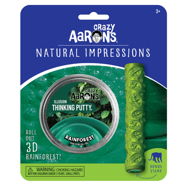 "Thinking Putty - Natural Impressions: Illusion Rainforest 2.75"" Tin with Roller and Monkey Stamp"