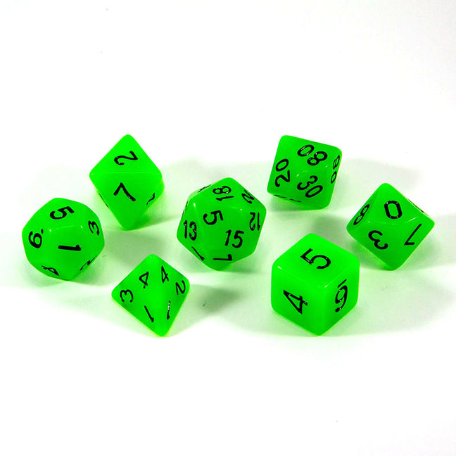Dice - (42) 7-Piece Polyhedral Set: Glow-in-the-Dark... Because Aliens