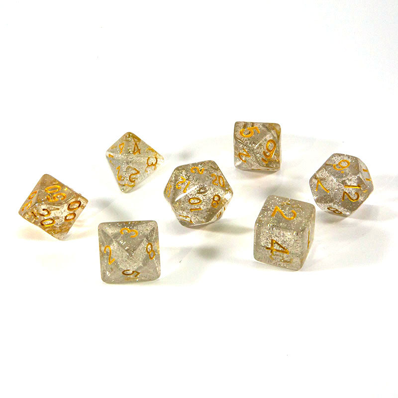 Dice - (55) 7-Piece Polyhedral Set: Golden Twinkle
