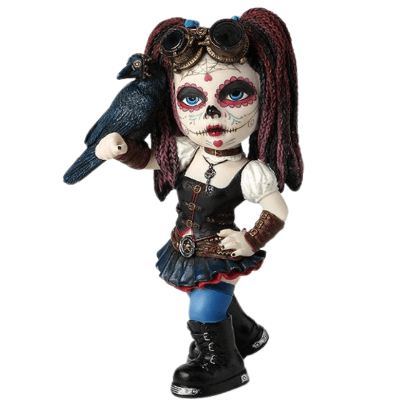 Statue - Cosplay Kids: Day of the Dead Holding Crow