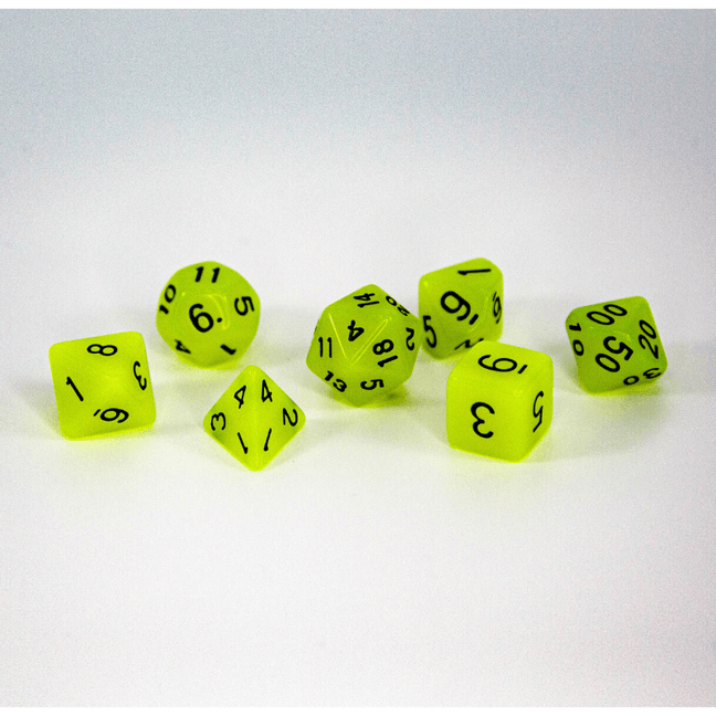 Dice - (40) 7-Piece Polyhedral Set: Glow-in-the-Dark Fresh Nuclear Lemonade