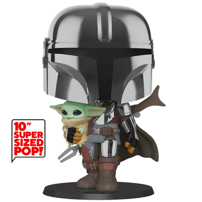 "Funko POP! 10"" - Star Wars The Mandalorian: The Mandalorian and The Child with Chrome"
