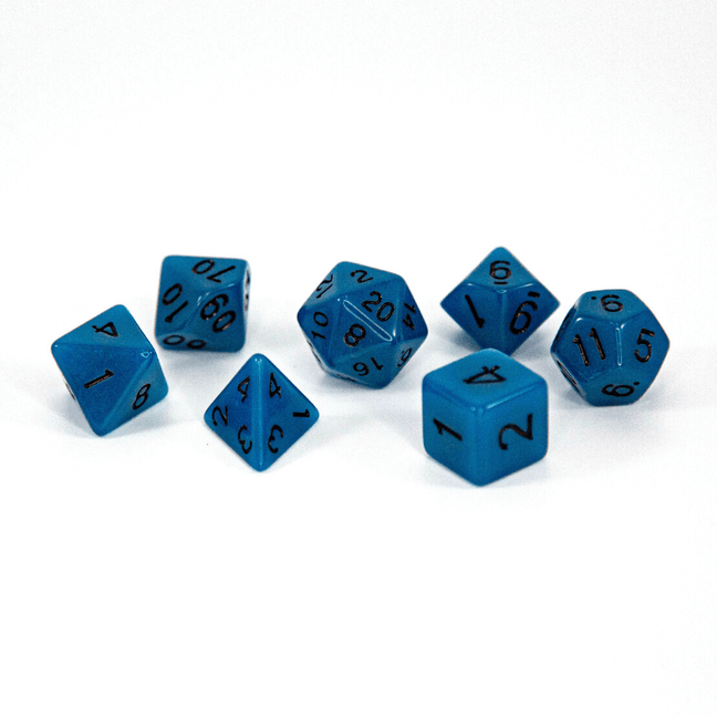Dice - (41) 7-Piece Polyhedral Set: Glow-in-the-Dark Cerulean Sea Monster