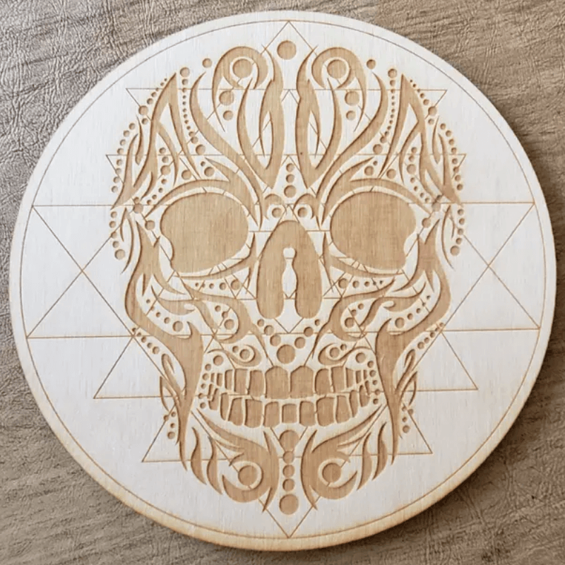 "Crystal Grid 6"" - Tribal Skull Sri Yantra by Zen and Meow"