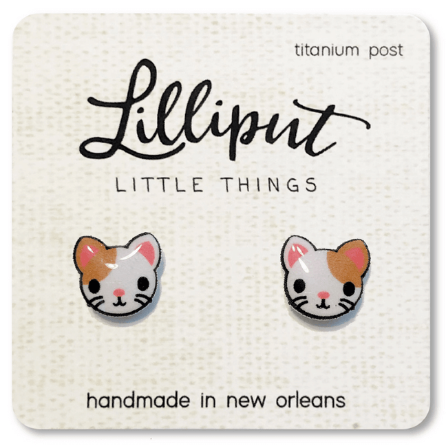 Earrings - Lilliput: White with Brown Spot Kitty Cat