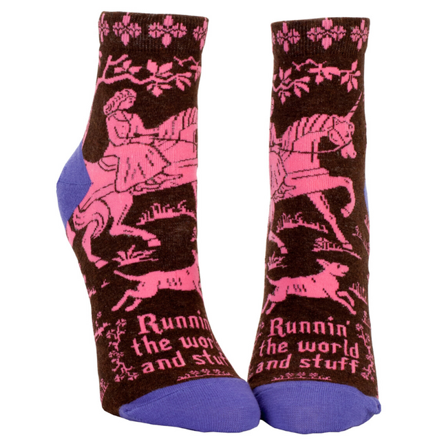 Socks (Women's Ankle) - Runnin' the World and Stuff by Blue Q