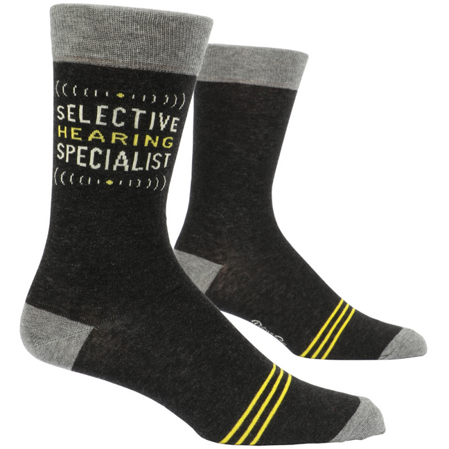 Socks (Men's Crew) - Selective Hearing Specialist by Blue Q