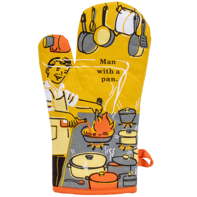 Oven Mitt - Man with a Pan.