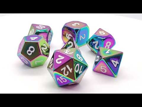 Dice - Old School: 7-Piece D&D RPG Metal Dice Set Hafling Forged Brilliant Rainbow