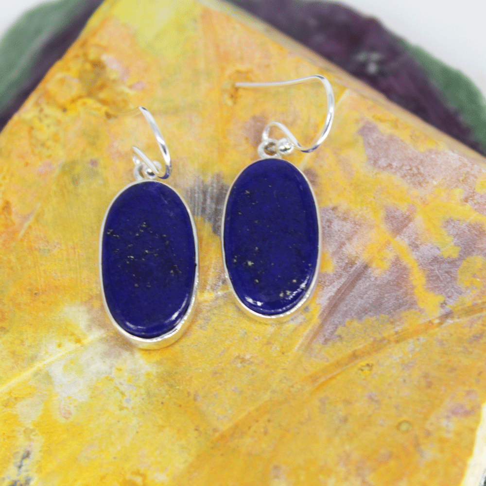 Lapis Lazuli Sterling Silver Drop Dangle Earring, Size 17X9mm