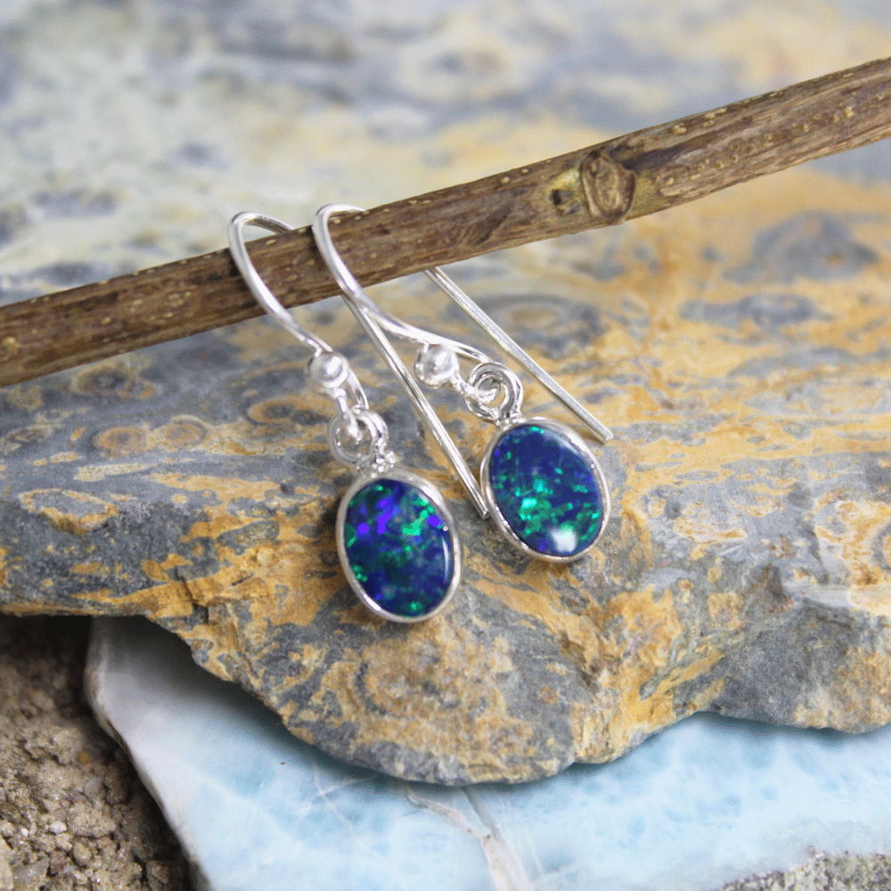 Australian Opal Doublet Sterling Silver Earrings, Size 5X7mm