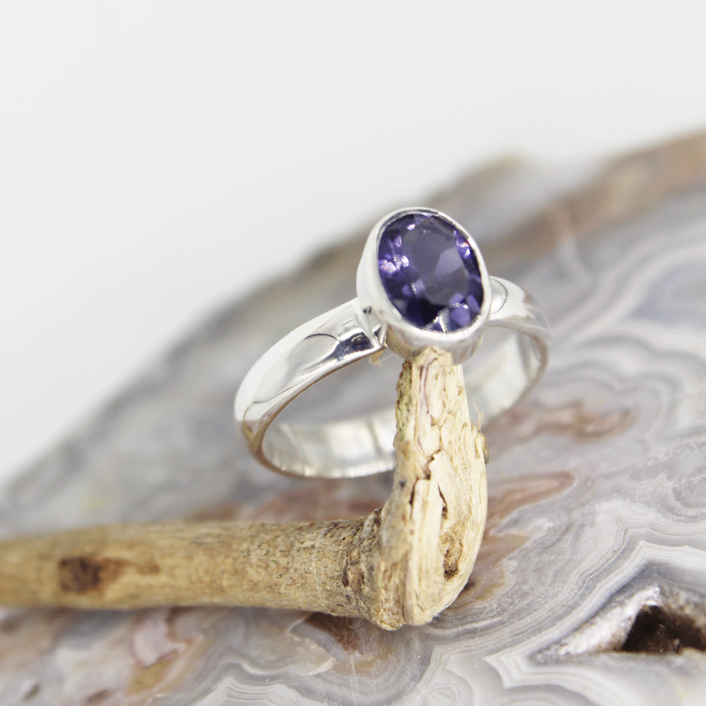 Iolite Silver Shank Ring