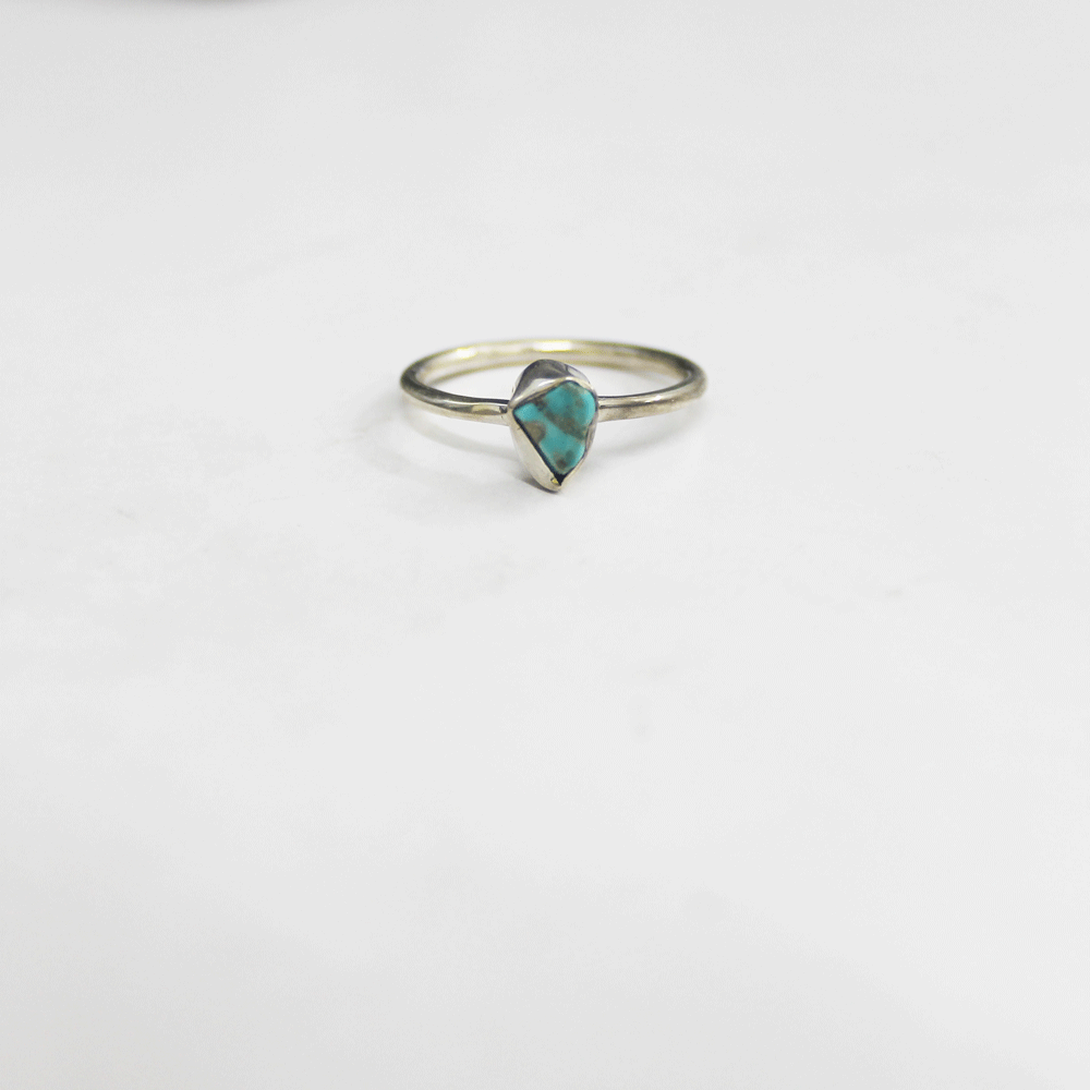 Turquoise Rough Stackable Ring, Size 7
