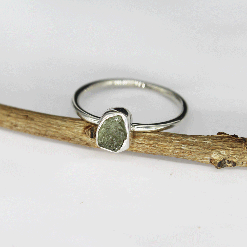 Rough Moldavite Stackable Ring, Size 9