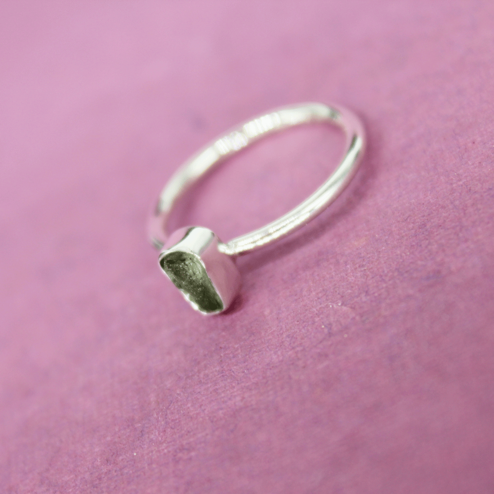 Green Moldavite Rough Stacky Ring, Size 6