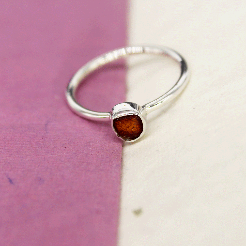 Amber Rough Stacky Ring, Size 7