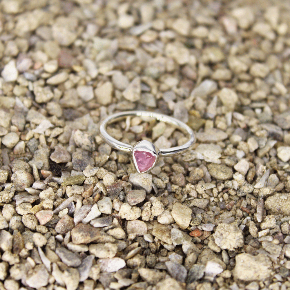 Watermelon Tourmaline Rough Stacky Ring, Size 5