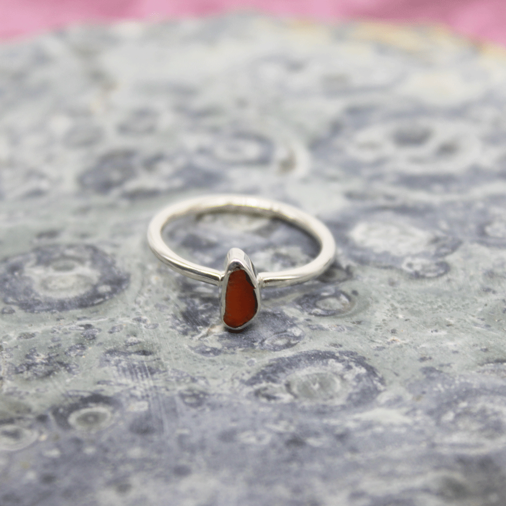 Red Coral Rough Stacky Ring, Size 5