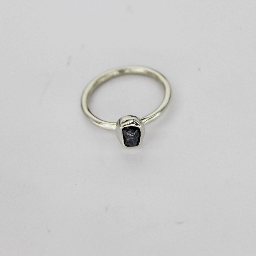 Silicon Rough Stacky Ring, Size 4