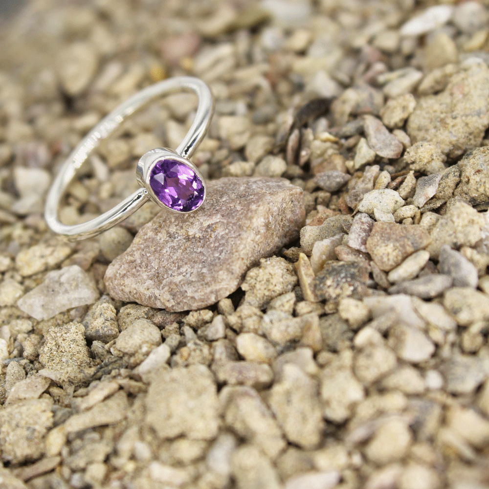 Amethyst Cut Stacky Ring