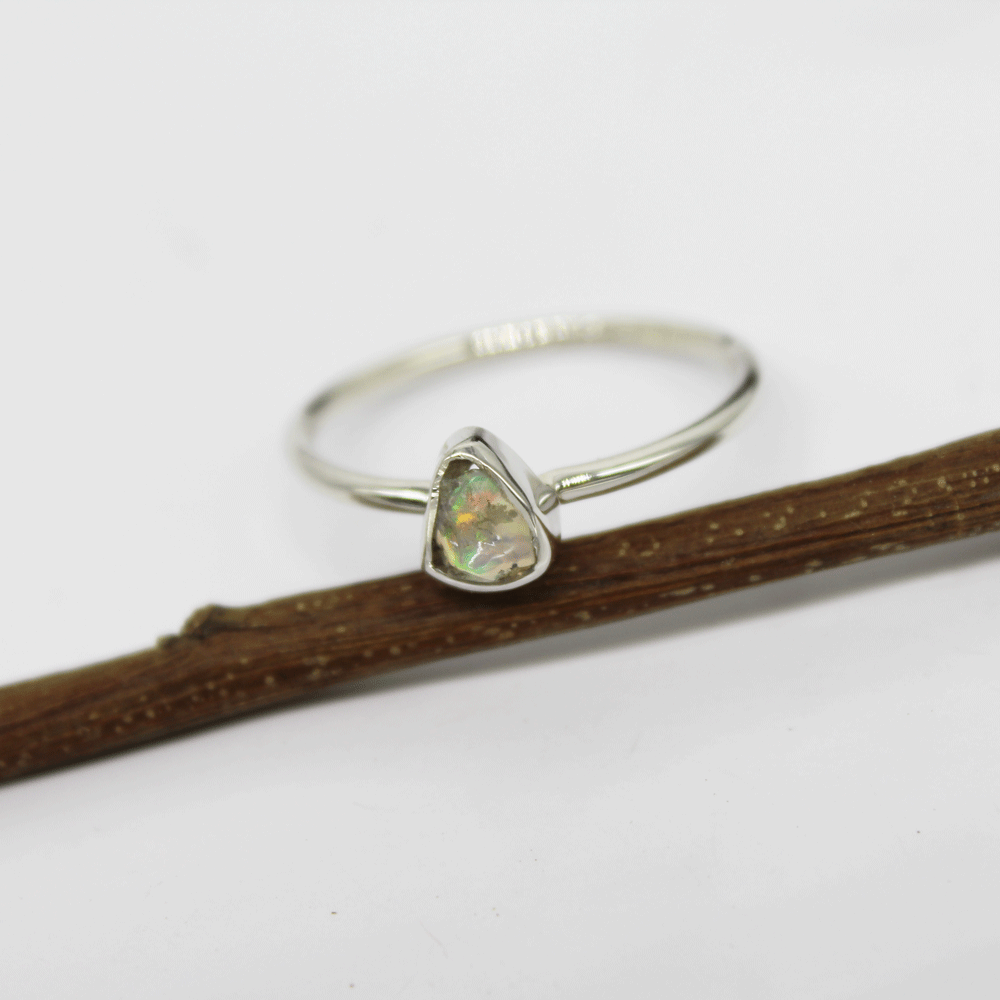 Rough Ethiopian Opal Stackable Ring, Size 9