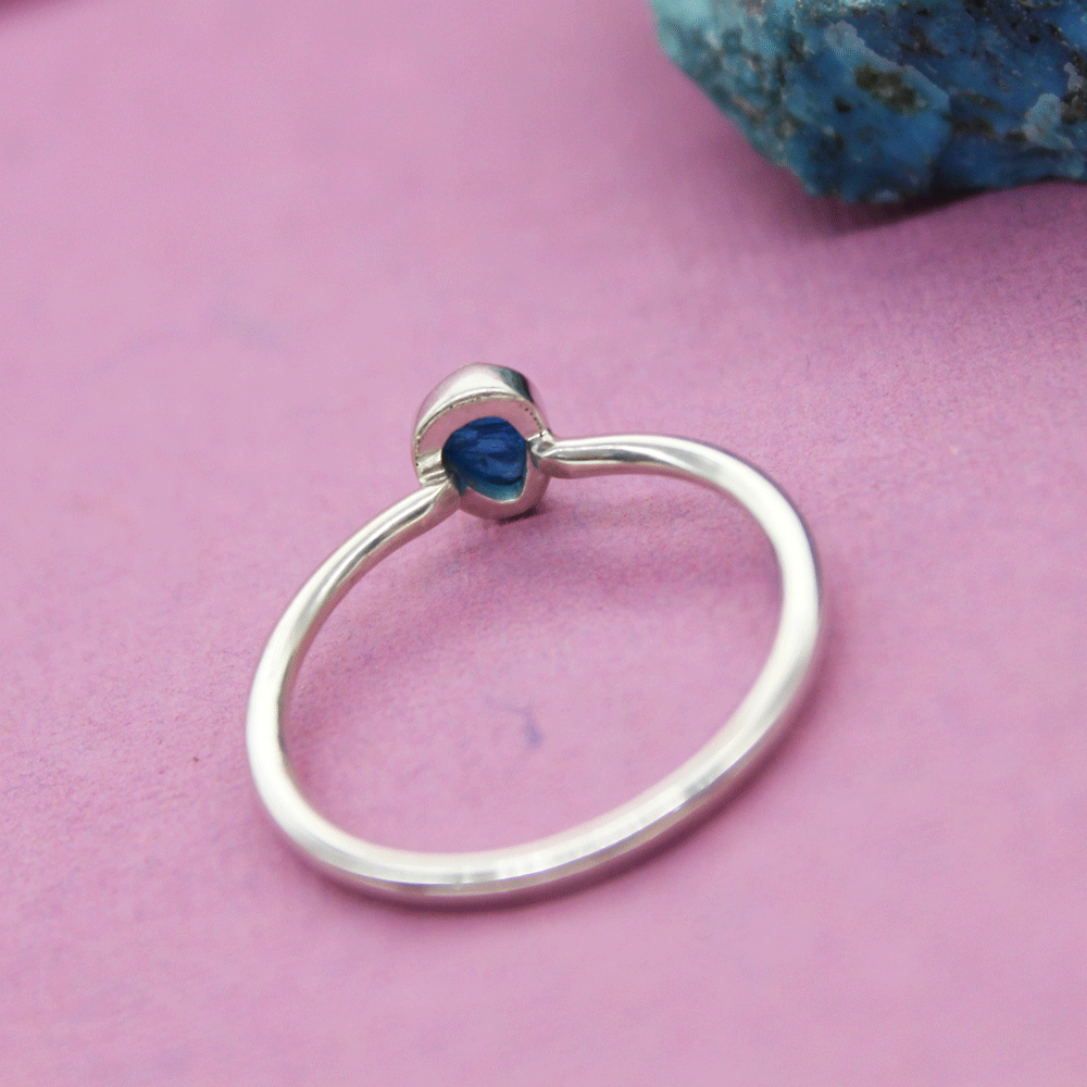 Blue Apatite Rough Stackable Ring, Size 8