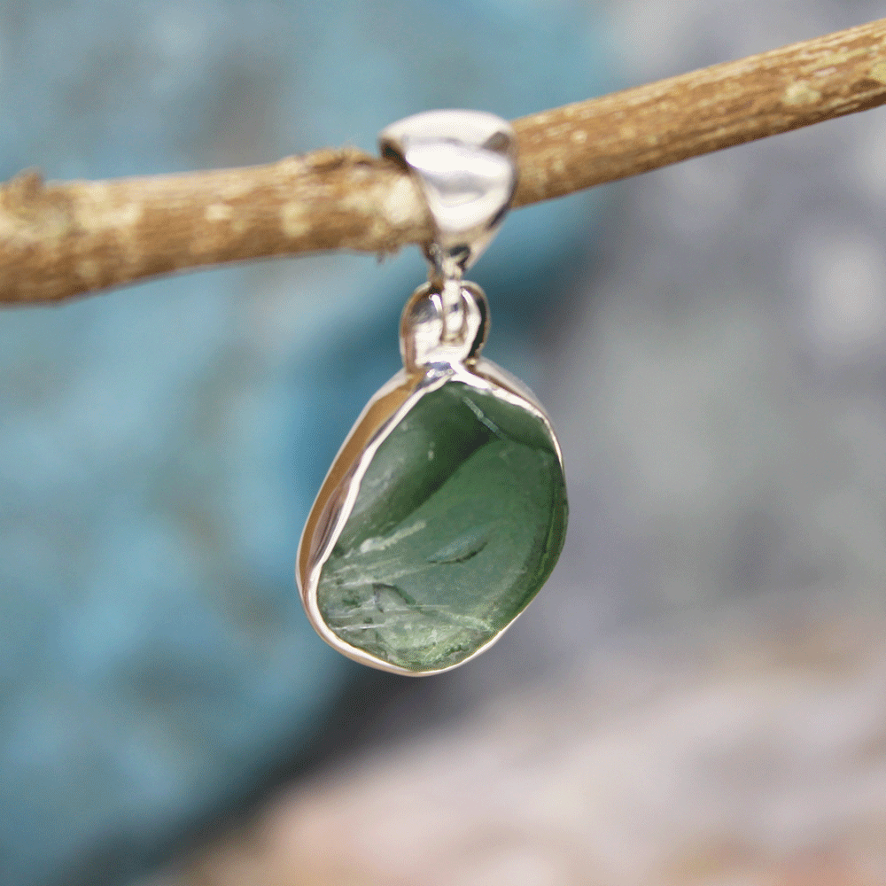 Green Onyx Rough Pendant, Sterling Silver Pendant
