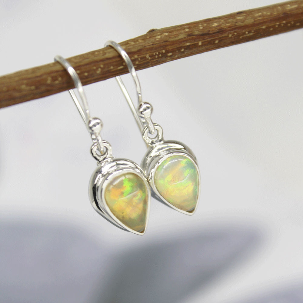 Natural Ethiopian Opal Cab Earrings, Sterling Silver, October Birthstone Size 6X9mm