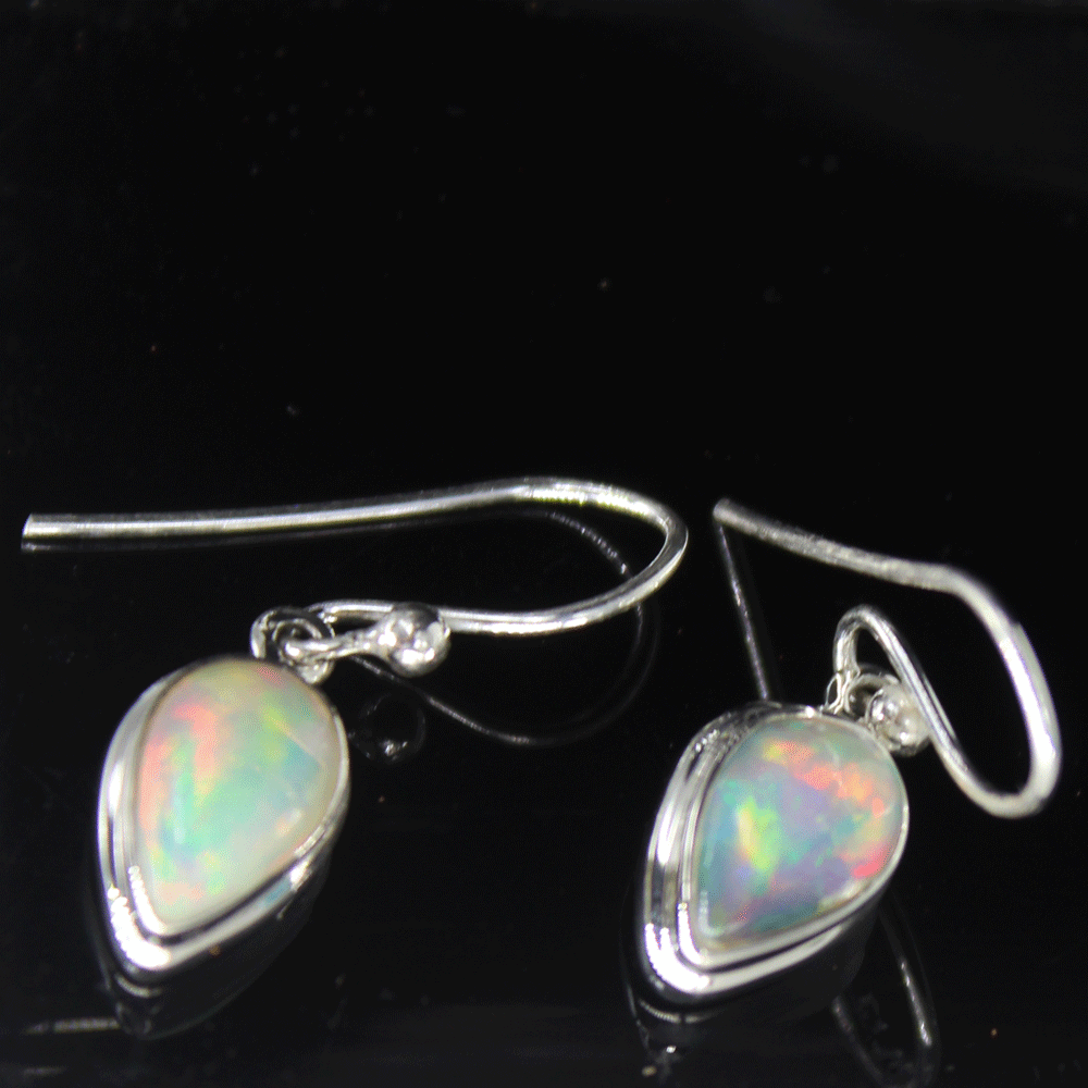 Natural Ethiopian Opal Cab Earrings, Sterling Silver, October Birthstone Size 5X9mm