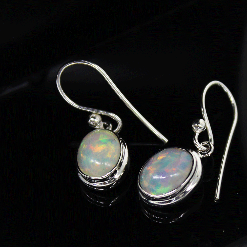 Natural Ethiopian Opal Cab Earrings, Sterling Silver, October Birthstone Size 7X9mm