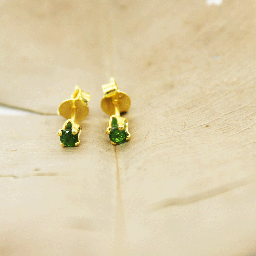 Chrome Diopside 3mm Cut Stud Earring