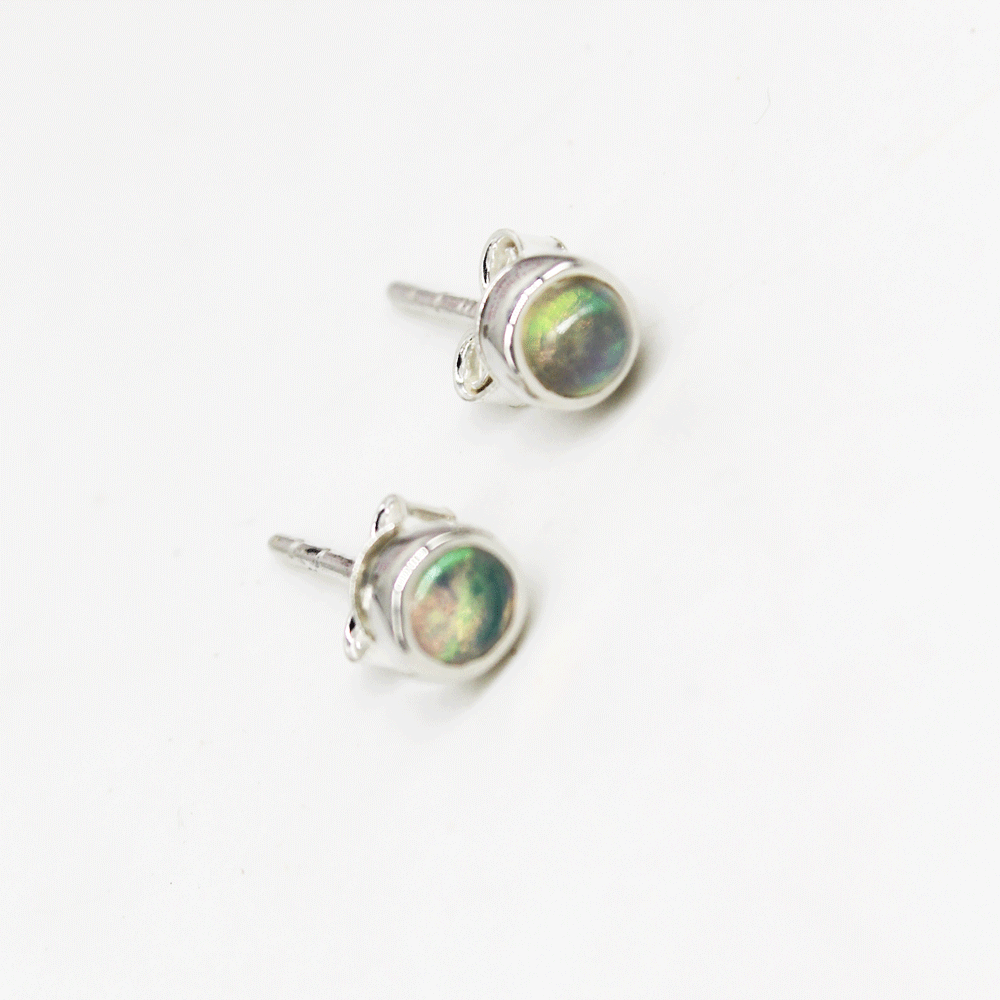 Ethiopian Opal Collet Cab Earring, October Birthstone