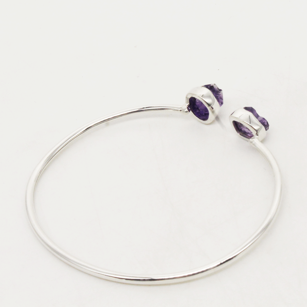 Purple Amethyst Bangle, February Birthstone Bangle, Stacking Bangle