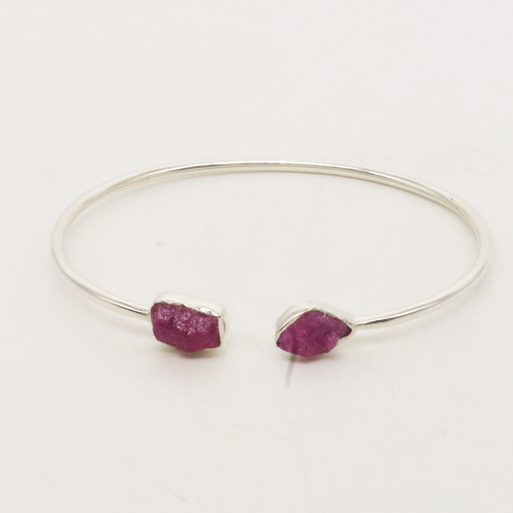 Natural Ruby Bracelet, Rough Ruby Bangle, July Birthstone