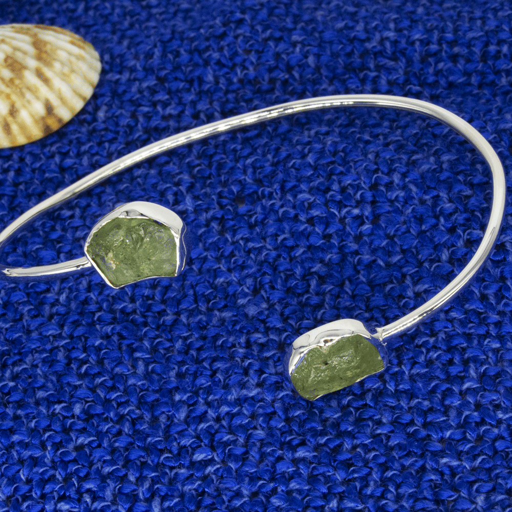 Natural Peridot Bracelet, Rough Peridot Bangle, August Birthstone