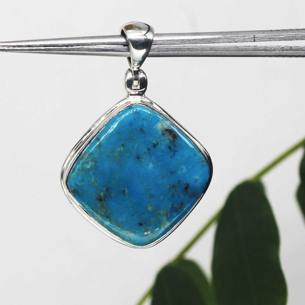 Natural Turquoise Sterling Silver Pendant, Blue Stone, Size 21X21mm