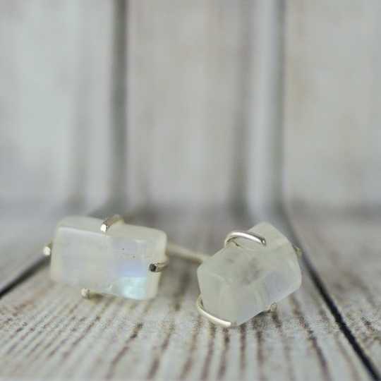 Rainbow Moonstone Rough Stud Earring