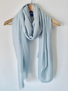 Fine Mongolian Cashmere Scarf in Sea Blue