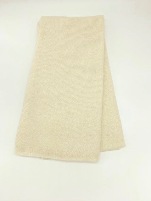 Large Cream Knitted Cashmere Wrap